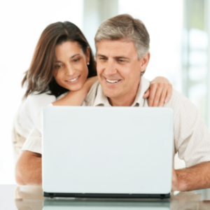 mature couple on the computer